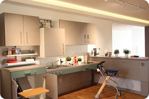 Id es de coin cuisine cuisine am nag e fauteuil roulant - Cuisine amenagee pour petite piece ...