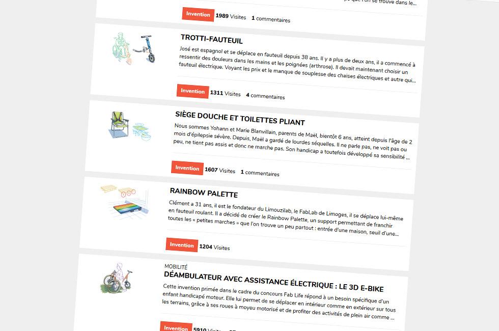 Quelques inventions proposées sur la plateforme Fab Life