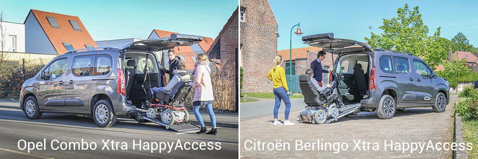 Le Berlingo et le Combo sont aussi disponibles avec l'aménagement Xtra HappyAccess