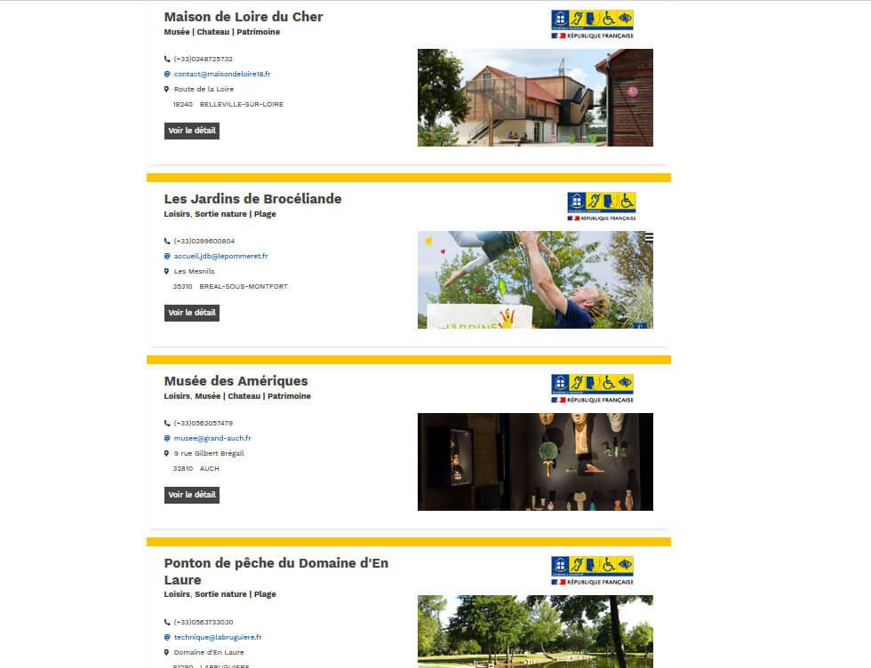 Le site du label Tourisme & Handicap permet de trouver facilement des lieux accessibles à votre handicap