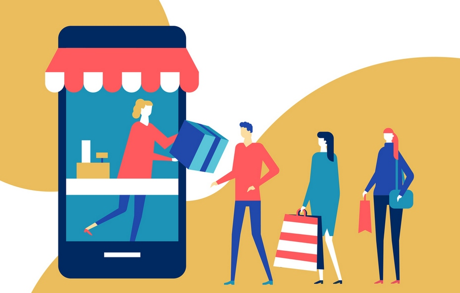 Shopping online - flat design style colorful illustration. High quality composition with pick up point, cute characters, people standing in a line, a shop assistant distributing orders, big smartphone