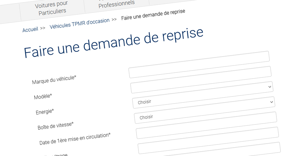 Complétez le formulaire de demande de reprise pour revendre votre voiture aménagée
